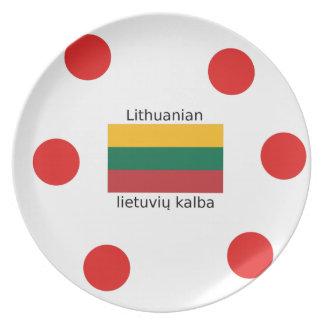 Lithuania Flag And Lithuanian Language Design Plate