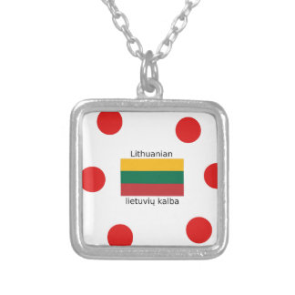 Lithuania Flag And Lithuanian Language Design Silver Plated Necklace