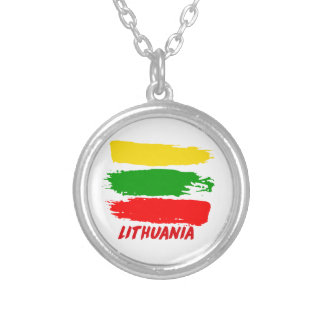 Lithuania flag design silver plated necklace