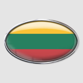 Lithuania Flag in Glass Oval (pack of 4) Oval Sticker