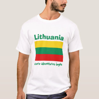 Lithuania Flag+Map+Text T-Shirt