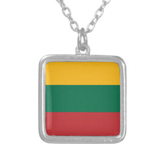 Lithuania Flag Silver Plated Necklace