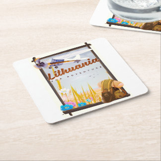 lithuania - For an adventure travel poster Square Paper Coaster