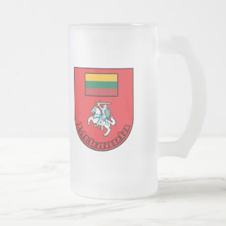 Lithuania Frosted Glass Beer Mug