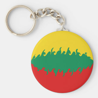 Lithuania Gnarly Flag Basic Round Button Key Ring