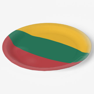 Lithuania, Lithuanian Red Green & Yellow Flag Paper Plate