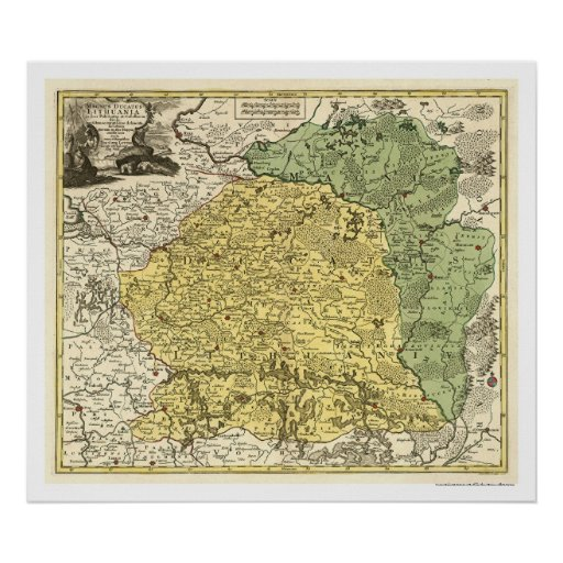 Lithuania Map 1750 Print