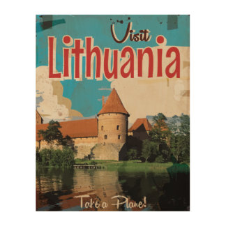 Lithuania Vintage Travel Poster Wood Prints