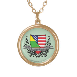 Lithuanian-American Shield Flag Custom Necklace