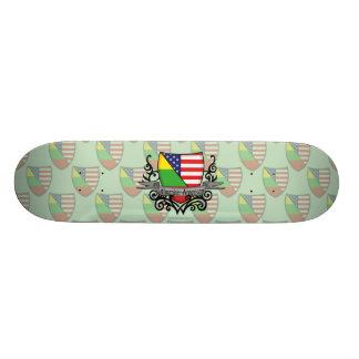 Lithuanian-American Shield Flag Skateboard Deck