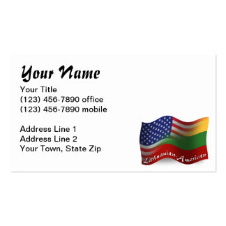 Lithuanian-American Waving Flag Pack Of Standard Business Cards