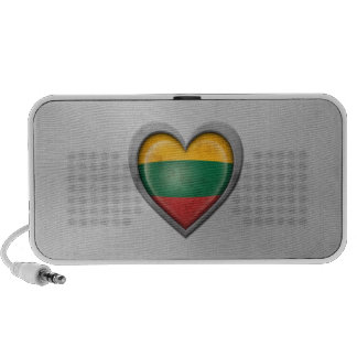 Lithuanian Heart Flag Stainless Steel Effect Laptop Speakers