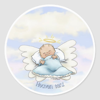 Litlle Baby Boy - Angel sent from above Classic Round Sticker