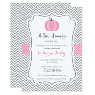 Litte Pumpkin Fall Baby Shower Invitation, Girl Card