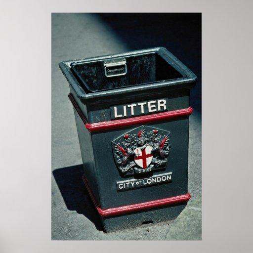 Litter bin to put rubbish posters