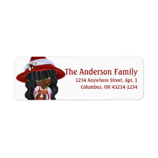 Little African American Christmas Witch Return Address Label
