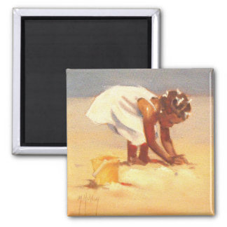 Little African Girl on Beach Square Magnet