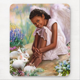 Little Afro Angel with Bunnies Gift Mousepads