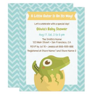 Little Alligator in Egg Baby Shower Invitations