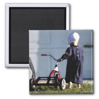 Little Amish Girl with her Trike-Watercolor Square Magnet