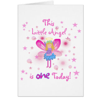 Little Angel 1st Birthday Tshirts and Gifts Greeting Card