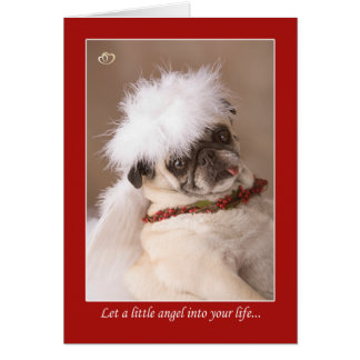 Little Angel Christmas Pug Card