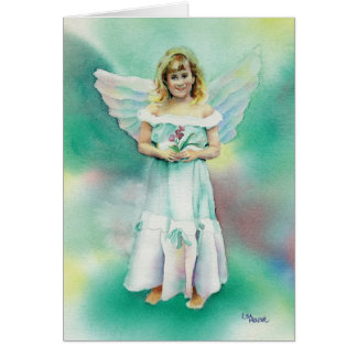 Little Angel Girl Watercolor Greeting Card