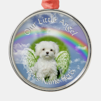 Little Angel Pet Photo Memorial Silver-Colored Round Decoration