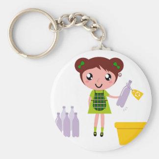 Little artistic girl with Bottle Key Ring