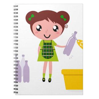 Little artistic girl with Bottle Notebooks
