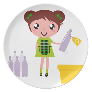 Little artistic girl with Bottle Plate