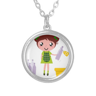 Little artistic girl with Bottle Silver Plated Necklace