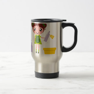 Little artistic girl with Bottle Travel Mug