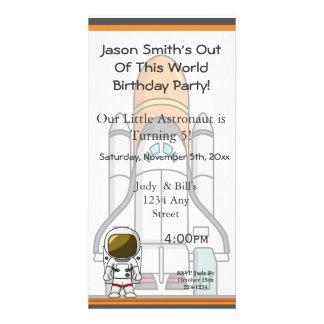 Little Astronaut & Spaceship Birthday Customized Photo Card