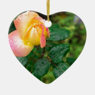 Little autumn rose with blur ceramic heart decoration
