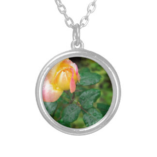 Little autumn rose with blur silver plated necklace