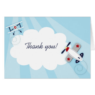 Little Aviator Boy Thank you Note Card size
