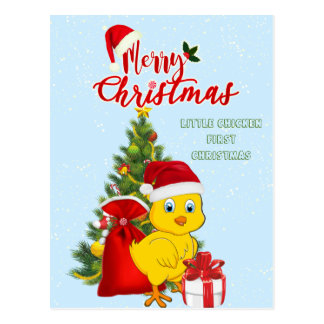 Little Baby Chicken Christmas Postcard