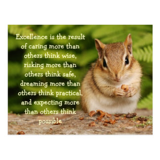 Little Baby Chipmunk Excellence Quote Postcard
