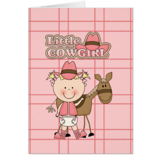 Little Baby Cowgirl with her Horse Greeting Card