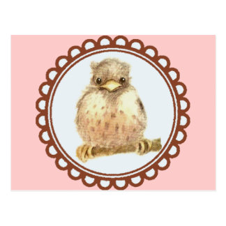 Little Baby Robin In Pink Postcard