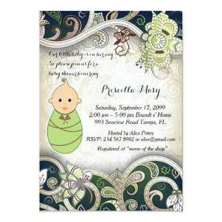 Little Baby Shower GIRL Invitation, damask, green Card