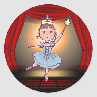 Little Balerina in Blue With Crown on Stage Classic Round Sticker