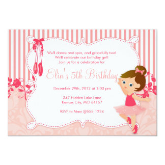 Little Ballerina birthday Invitations - version 4