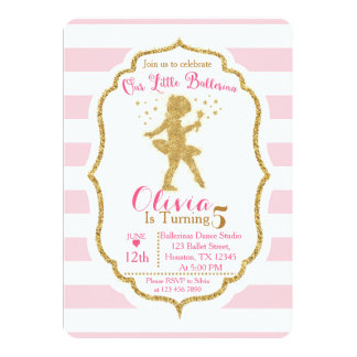 Little Ballerina Pink & Gold Invitation