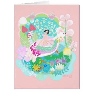 Little ballerina with birds by Gemma Orte Designs Card