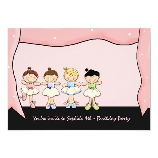 Little Ballerinas' Recital Birthday Invitation