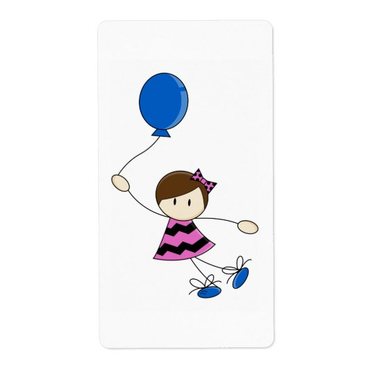 Little Balloon Girl Sticker Label