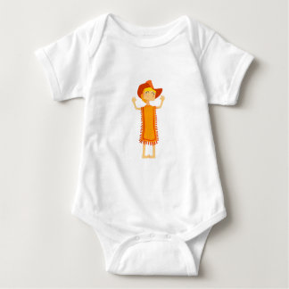 Little Barefoot Girl Wearing A Poncho And Cowboy H Baby Bodysuit