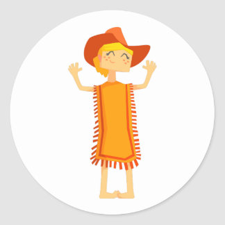 Little Barefoot Girl Wearing A Poncho And Cowboy H Classic Round Sticker